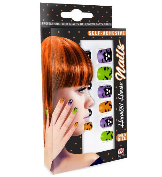 Set Of 12 Self Adhesive Haunted House Nails Child Size Halloween Makeup